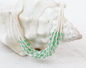 Mint green multi strand crochet beaded necklace Natural jewelry Gift under 20 for her Summer fashion trends Boho chic Bohemian style