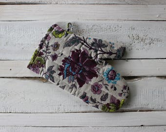 Linen kitchen gloves With Flower Pattern Linen Glove Christmas gift for the cook him and her