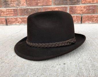 Dark Brown Fur Felt Fedora, Robert Hall, Made in USA, size 7 (56)