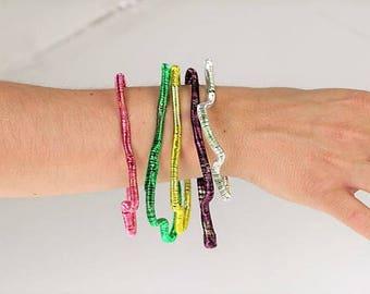Bangle bracelet 3 Modern bracelet Wire wrapped jewelry Adjustable bracelet Summer jewelry Rainbow Hippie jewelry Gift women Abstract jewelry