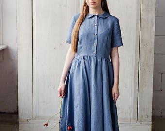 Casual Blue Dress, Short Sleeved Dress, Peter Pan Collar Dress, Knee Length Dress, Day Dress, Home Dress, Flared Dress, Plus Size Dress