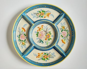 Vintage folk art relish plate, sectioned plate, summer appetizers, relish tray, blue floral chips and dip plate hand decorated plate