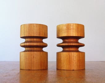 Pair Vintage Danish Modern Turned Teak Wood Candle Holders Pillar / Taper