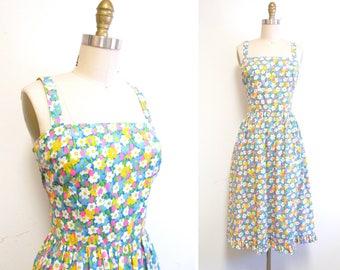 Vintage 1970s Sundress | Neon Floral Print Ruffle Hem 1970s Dress | size medium