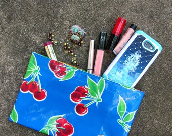 """Cherries Oilcloth Bag, clutch purse or makeup bag, sturdy and beautiful. Size 10.5"""" by 6.25"""""""