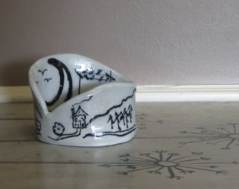 Black and White Pottery Birds and Trees Cabin and Mountain Goat Pottery Bowl Unique Pottery Moon
