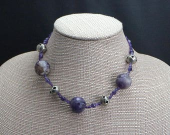Purple Agate, Amethyst and Sterling Silver