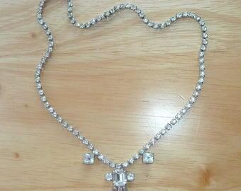 Sparkling Rhinestone Necklace 1940s Vintage Retro