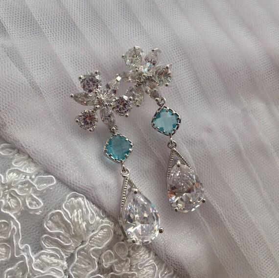 Blue Crystal drop earrings, Blue Earrings, Diamante bridal earrings, Silver wedding jewelry, Teardrop bridal earrings, CZ bridal Earrings
