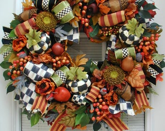 Large Fall Wreath Elegant Silk Front Door Wreath Luxe Grapevine Black White Checked Faux Fruit Pumpkins Red Orange Fireplace Entryway Decor