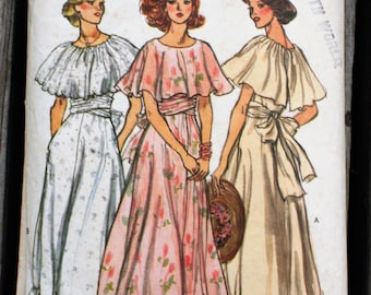 Vogue 9731 1970s 70s Bridesmaid Prom Evening Prairie Dress Wedding Gown Vintage Sewing Pattern Size 12 Bust 34