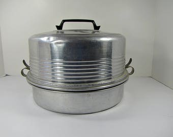 Vintage CAKE & PIE CARRIER 3 pc Aluminum Regal Saver Locking Clamps Portable Stackable Tiered Cookie Pastry Cupcake