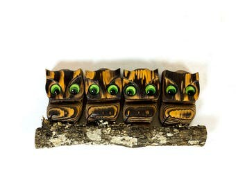 Vintage 1950s Kitschy Wood Owls on a Branch Wood Carving Wall Hanging