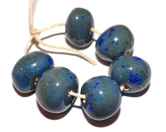 Ceramic Nugget Bead Set Stoneware Handmade Pottery Beads Pebbles Blue Grey