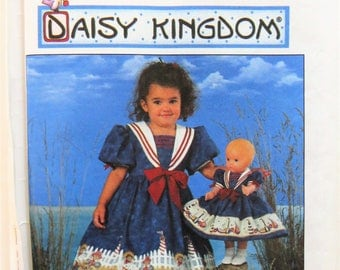 Simplicity 7605, Daisy Kingdom Girl's Dress and 17 inch Doll Dress,  Girl's Size 3  4  5  6, Full Dress Puffy Sleeves Sewing Pattern