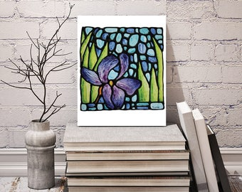 Purple Iris Print - FREE Shipping - Stained-Glass Art - Iris Floral Wall Hanging - Art Nouveau Artwork - Purple Flower Room Decor - Lavender