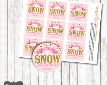 Winter ONEderland Favor Tags Pink and Gold, Winter Onederland Thank You Tags, Sticker, Square or Circle, Personalized, Printable PDF File