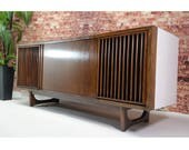 The Vintedge Co™ - TURNTABLE READY Series™ - RCA Curved Front Mid Century Modern Stereo Console Turntable Record Player