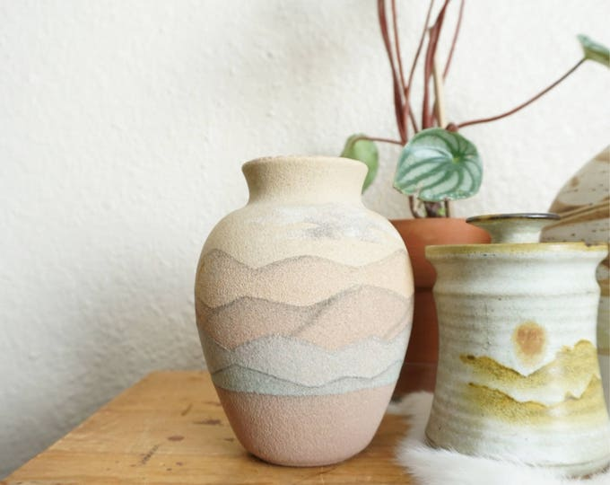 Vintage Mountainscape Textured Ceramic Vase