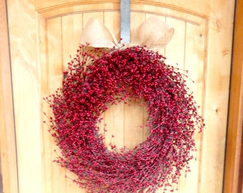 Christmas Wreaths-Christmas Home Decor-Winter Wreath-Holiday Wreath-LARGE Red Wreath-Scented Wreath-Wreath for Fireplace-Holiday Home Decor