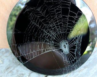 JOVIAN Spider web decoration - real spider web under round glass paperweight
