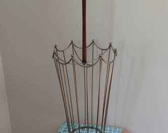 Umbrella Stand Extra Tall Divided Comparment Brass Vintage Atomic Retro Industrial