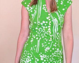 Vintage 1960s Adele Simpson Neon Green Linen Dress