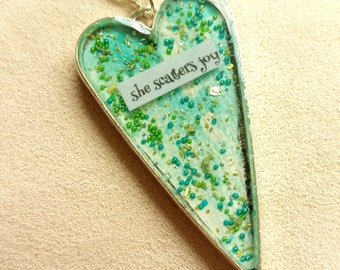 she scatters joy - Heart Art Pendant - Inspirational Message - FREE SHIPPING