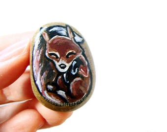 Baby Fox, Wildlife Jewelry, Red Fox Necklace, Nature Pendant, Nap Time, Hand Painted Pebble Art, Gift for Her, Forest Animal Painting
