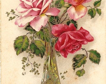 Pink Roses in Gold Highlighted Crystal Vase Antique Vintage German Postcard Chromo Post Card from Vintage Paper Attic