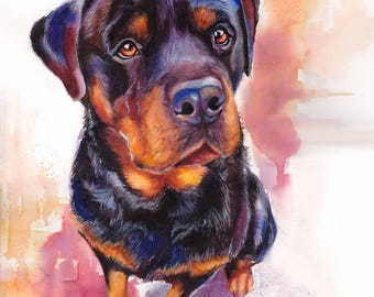 Rottweiler Dog Watercolor Fine Art Print on Paper, Metal, or Bamboo