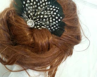 Black, guinea, polka dot feather clip, feather accessory, feather fascinator