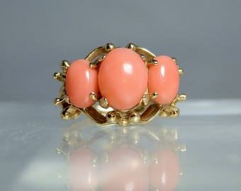 Vintage 14k Yellow Gold Salmon Coral Ring Size 4.5 Well Crafted Design Setting 3 Natural Coral Cabochons DanPickedMinerals