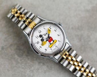 Vintage Mickey Mouse Quartz Watch With Two Tone Jubilee Style Metal bracelet