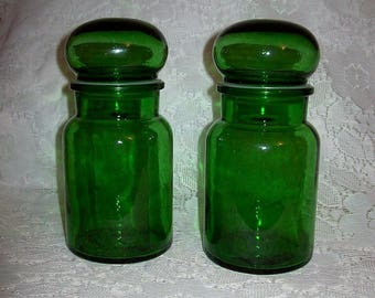 Vintage Green Glass Bubble Top Apothecary Medical Jars Made in Belgium Pair Only 12 USD