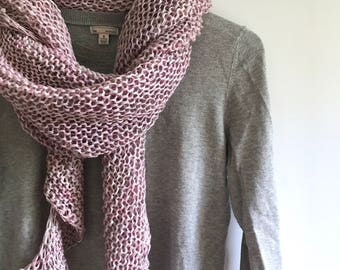 "Hand Knit Wrap ""Pink on Grey"""