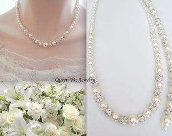 Pearl backdrop necklace, Back drop wedding necklace, Brides pearl necklace, Backdrop pearl necklace, Swarovski pearl necklace ~DESTINY