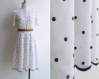 Vintage 80's White Scallops & Embroidered Polka Dots Mandarin Collar Dress S
