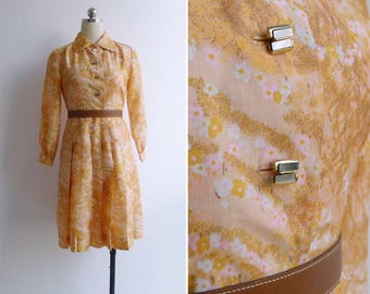 10-25% OFF Code In Shop - Vintage 70's Silk Sakuras Watercolor Cherry Blossom Print Shirt Dress XS or S