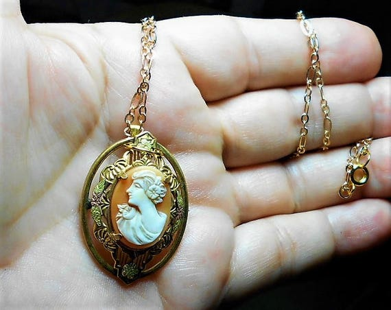 Edwardian CAMEO, Rare Left Facing, Yellow Gold Metal Small Hand Carved Vintage on G F Openwork Setting Necklace Ornate Open Work Only 144.90