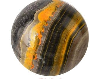 Gorgeous 58 mm BUMBLEBEE Jasper Sphere + Stand Yellow Orange Black Indonesia Healing Crystals and Stones Polished Eclipse #BJ26