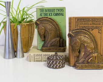Art Deco Horse Bust Bookends. Handcarved Wood, Vintage Decor Accents