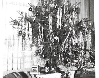 "Vintage Snapshot ""Drunken Decorating"" Too Much Tinsel On The Christmas Tree Liquor Bottles Found Vernacular Photo"
