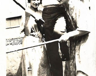 "Vintage Photo ""He's A Brave Man"" Ax-Wielding Woman Headless Faceless Man Found Vernacular Photo"