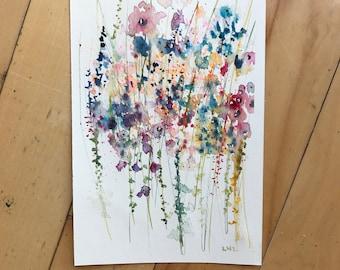 Original Floral Art, Flower Painting, Watercolor Painting, Fine Art, Nature, Modern Art, Garden Floral, Abstract Art, Bohemian