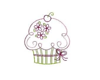 Cupcake Quick Stitch Machine Embroidery Design-INSTANT DOWNLOAD