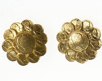 Vintage RJ Graziano Roman Gold Coin Earrings, Clip On, Designer Vintage Jewelry
