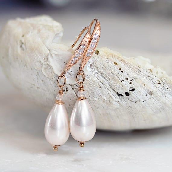 Ivory Pearl Earrings - Rose Gold & Rose Quartz Earrings