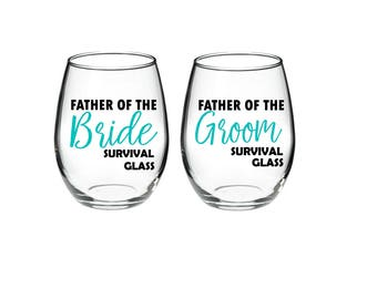 Father of the Bride Survival Glass - Father of the Groom Survival Glass - Set of 2 - 21 oz stemless wine glasses