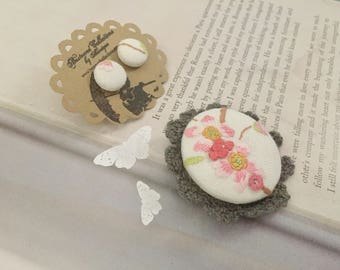 sakura cherry blossom vintage brooch and button earrings set